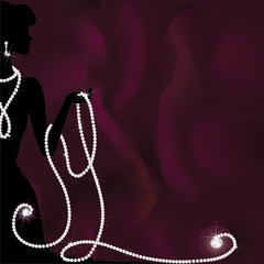 A silhouette of woman holding pearl beads