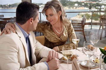 Mature couple dining in a restaurant