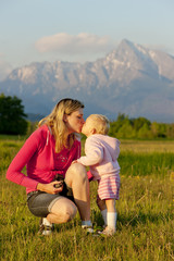 mother with her baby girl, Krivan, High Tatras, Slovakia