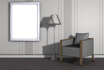 Wohnzimmer mit Bilderrahmen