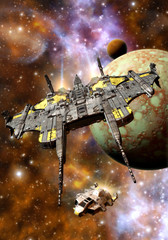 Wall Mural - spaceship and space pirates