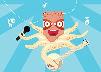 happy octopus playing banjo in the sea with wide smile