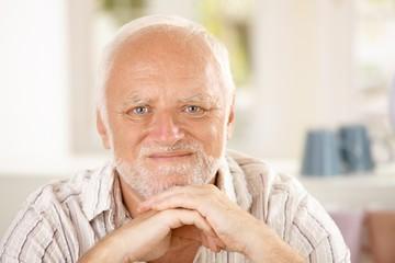 Closeup portrait of content senior