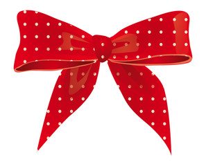 Bow of red ribbon