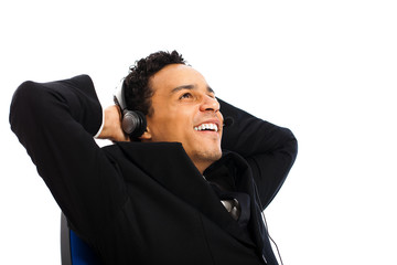 glücklicher Geschäftsmann mit Headset
