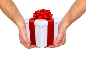 hands and gift box