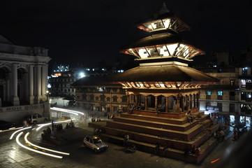 车辆,黑夜,灯光,寺庙,塔