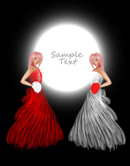 Background for your design. Girls in a red and white dress. A ve