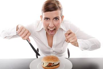agressive frau beim essen