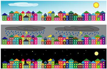 Vector cartoon cityscapes - sunny day, rainy day and at night