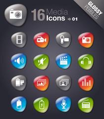 Glossy Peebles - Media Icons 01