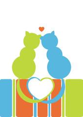 Printed kitchen splashbacks Cats gatti innamorati
