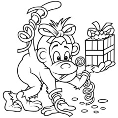 Monkey and Gift - Black and White Cartoon illustratio