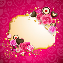 Wall Mural - beautiful pink and golden valentine`s day background