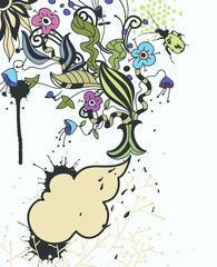 fantasy vector frame with colored flowers and paint drops