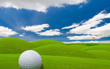 golf course under the blue sky