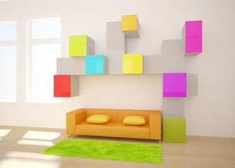 colored 3d interior