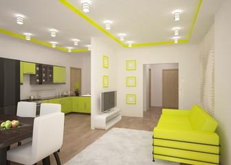 green 3d interior