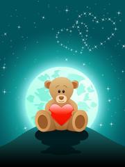 verliebter Teddy im Mondschein