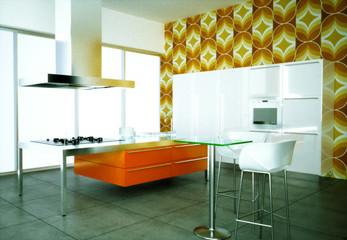 3D Rendering Küche Retrostyle
