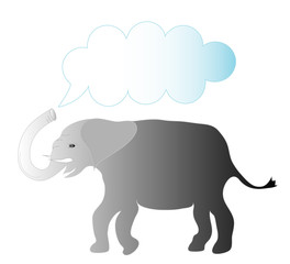 Grey elephant with trunk up frame for text,vector