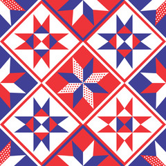 American Patchwork Quilt Seamless Pattern