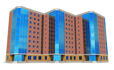 Wall Mural - Modern tall business building isolated on white