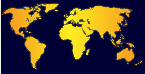 Illustration of yellow world map over dark blue background