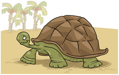 cartoon illustration of funny big turtle