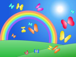 Poster Magic world Heart butterflies