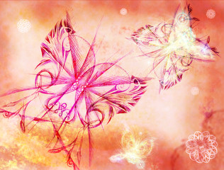Background with the butterflies