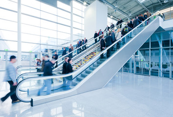 trade fair visitors using a staircase