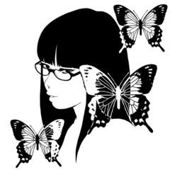 眼鏡をかけた女の子と蝶