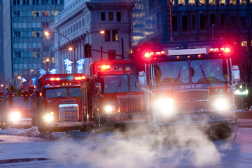 Row of fire trucks