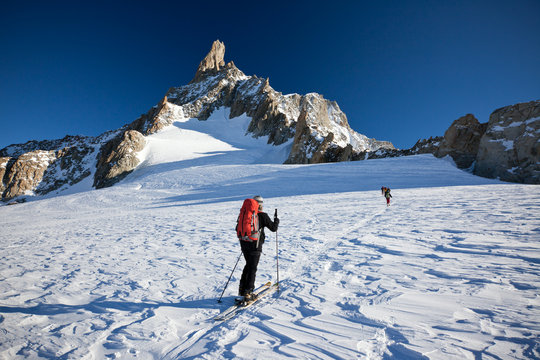 Backcountry skiers at Mont Blanc, France.