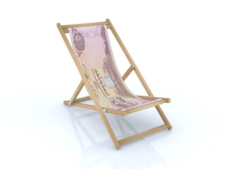 wood beach chair with dirham united arab emirates banknote