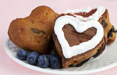 Delicious Homemade Heart Shaped Blueberry Muffins