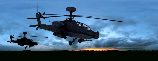 Printed roller blinds Helicopter us kampfhubschrauber sunset