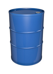 Blue oil barrel, 3D render