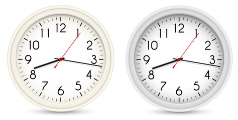 Vector Office Clocks. Two Color Variations.