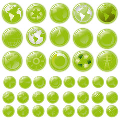 vector set: green buttons - glossy buttons,  with 39 icons