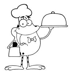 Outlined Frog Cartoon Mascot Character Chef Serving Food