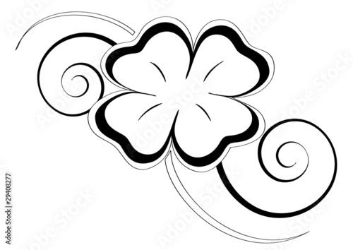 Quadrifoglio tatoo stock image and royalty free vector - Shamrock foglio da colorare ...