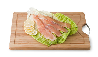 Assorted Trout on light green leaf with lemon