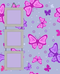 Framework for photo on vintage background with butterflies. eps1