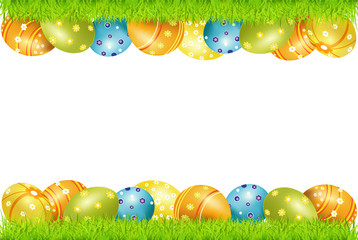 frame of Easter eggs and green grass
