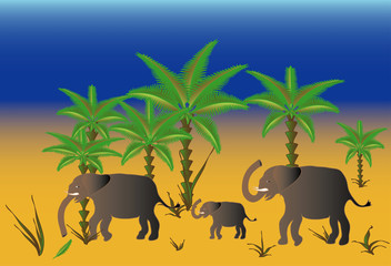 A herd of elephants as a landscape,vector
