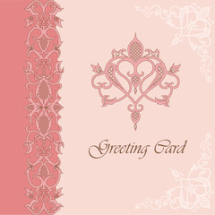 Greeting card with heart shape vintage ornament