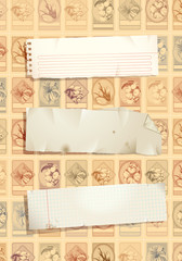 Vintage stamp background with torn papers