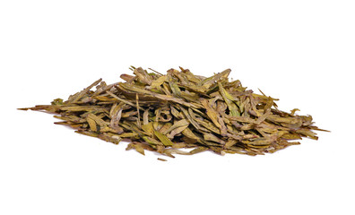 isolated green tea heap